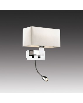 Бра с выкл хром/абажур/кремов E27 60W+1W LED 220V ODL13 453